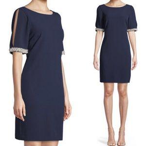 Karl Lagerfeld Paris pearl sleeve navy dress NWT